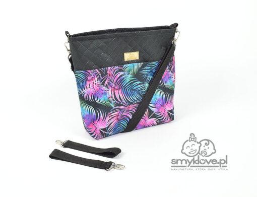 Torba do spacerówki w palmy z fioletem i czarnym - Smyklove