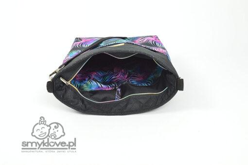 Elegancka torba do wózka w palmy z fioletem i czarnym - SMYKLOVE