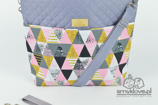 Uniwersalna torba do wózka w różowe trójkąty - Smyklove