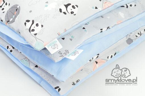 Zbliżenie na tkaniny w pościeli do łóżeczka w pandy od Smyklove