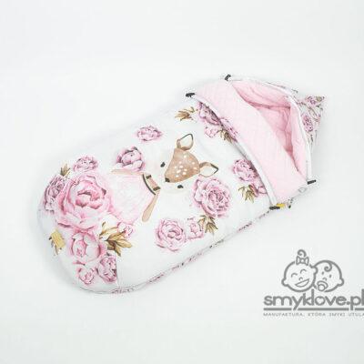 Śpiworek niemowlęcy sarenki w peoniach - Smyklove