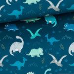 Bawełna premium dinozaury na morskim tle
