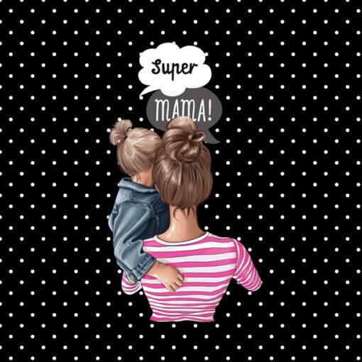Wzór mama z córką blond w kropki