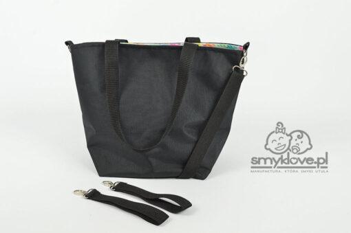 Tył/plecy nieprzemakalnej torby do wózka czarnej - SMYKLOVE