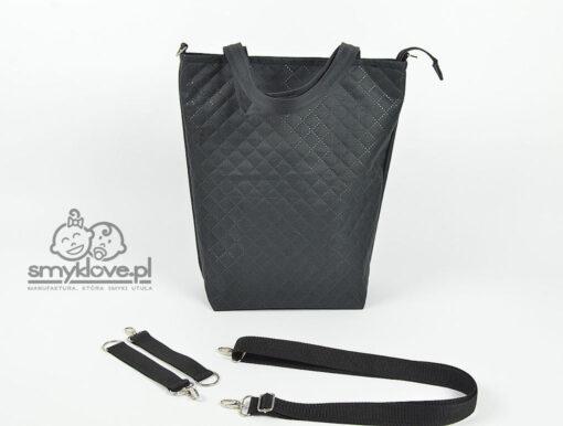 Tył torby mama z córką z pikowanego poliestru - SMYKLOVE