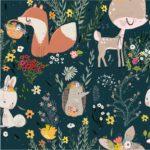 BP36 - bawełna premium las kwiatki i zwierzątka