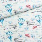 BP37 - bawełna premium samoloty i balony w chmurach