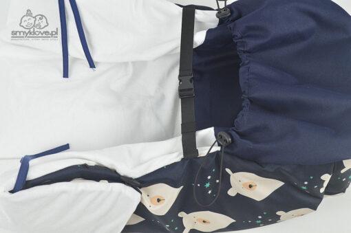 System regulacji i montażu w osłonce do wózka na nóżki misie na granacie od Smyklove