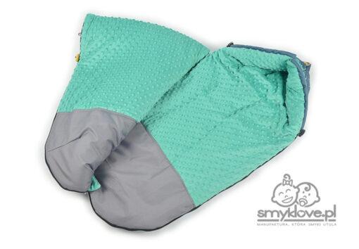 Środek śpiworka life is magic - zielone minky oraz odporny na zabrudzenia podnóżek z manufaktury Smyklove