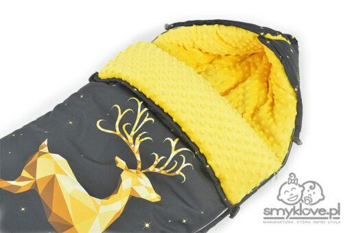 Kapturek w śpiworku żółto-czarnym do wózka - SMYKLOVE