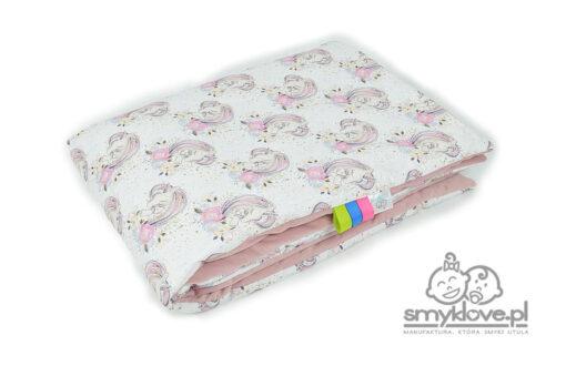 Kocyk velvet (gładki róż) w jednorożce (bawełna premium) - Manufaktura Smyklove