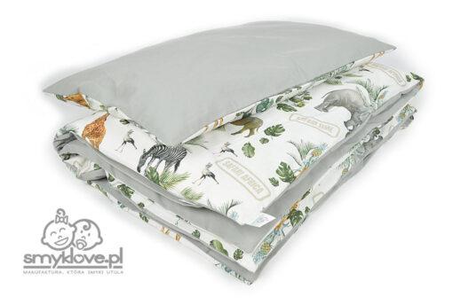 Szara pościel do łóżeczka safari - Manufaktura Smyklove