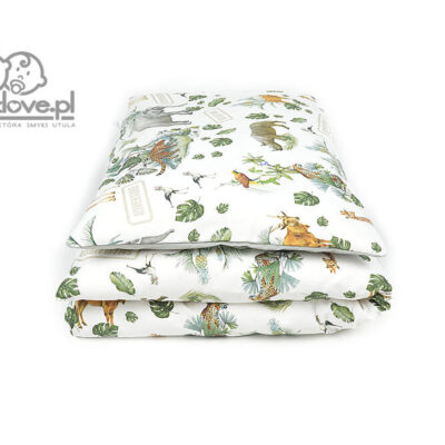 Pościel do łóżeczka safari z szarą jednobarwną - SMYKLOVE