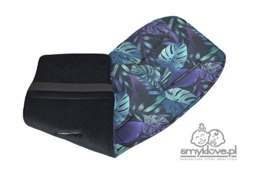 Wkładka do Bugaboo Donkey z bawełny kwiaty monstery oraz velvetu pikowanego czarnego - SMYKLOVE