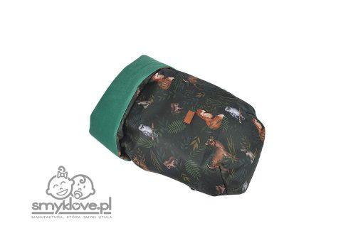 Osłonka na nóżki nocny las z butelkowo zielonym velvetem - SMYKLOVE