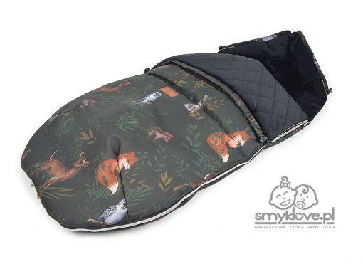 Śpiworek nocny las do wózka z otworami na pasy pod konkretne modele spacerówek - SMYKLOVE