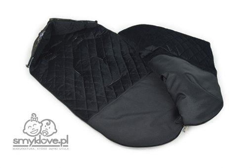 Środek śpiworka do wózka nocny las z velvetu czarnego pikowanego od Smyklove