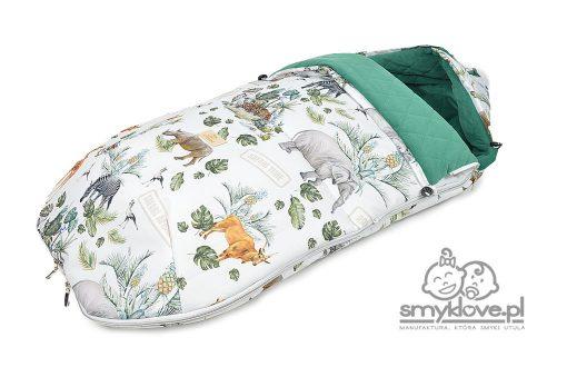 Nieprzemakalny śpiworek do wózka we wzór safari od Smyklove