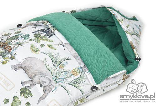 Ściągacze i kapturek we śpiworkach do wózków Safari od Smyklove